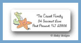 Rub a dub starfish and seahorse return address labels personalized