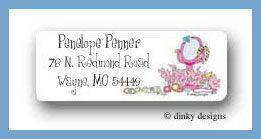 Girly party things return address labels personalized
