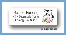 Barnyard pals cow return address labels personalized