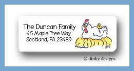 Barnyard pals chicken return address labels personalized
