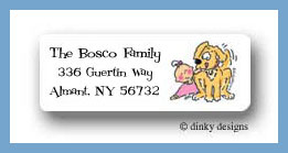 Girl & puppy bassinet return address labels personalized