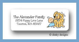 Boy & puppy bassinet return address labels personalized