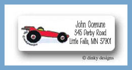 Boys toys race car return address labels personalized
