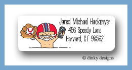 Boys toys baby with helmet return address labels personalized