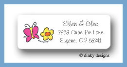 Butterfly and flower return address labels personalized