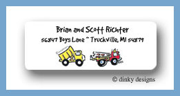 Dump truck and fire truck return address labels personalized