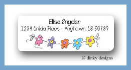 Girls string of flowers return address labels personalized