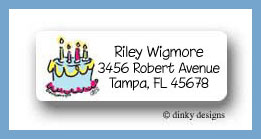 Cake party return address labels personalized
