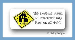 Suitcase on the move road sign return address labels personalized