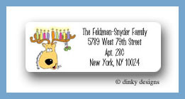 Reindeer menorah return address labels personalized