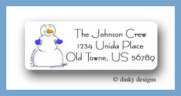 Snowman with blue mittens return address labels personalized