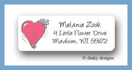 Happy heart and bug return address labels personalized
