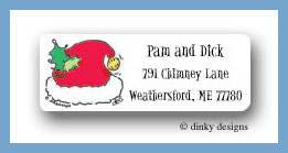 Santa cap return address labels personalized