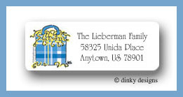 Festive bag return address labels personalized