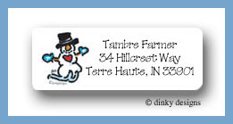 Christmas heart snowman return address labels personalized