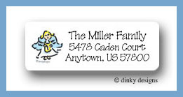 Christmas angel return address labels personalized