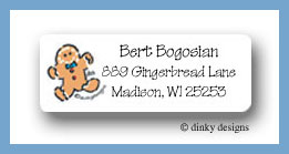 Christmas gingerbread return address labels personalized