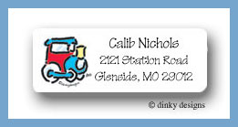 Christmas train return address labels personalized