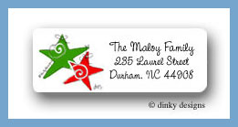 Swirlie stars return address labels personalized