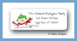 Snowman with green hat return address labels personalized
