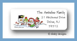Snowman family of 4 return address labels personalized