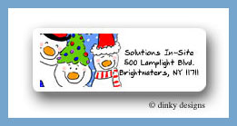 Snowman family of 3 return address labels personalized