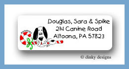 Dog with candy cane return address labels personalized