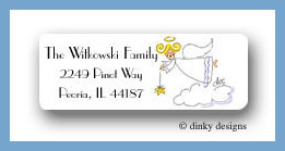 Side view angel return address labels personalized