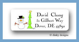 Simple snowman with tree return address labels personalized