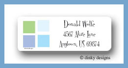 Blue tile return address labels personalized