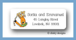 Up on the housetops reindeer return address labels personalized