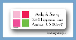 Pink tile return address labels personalized