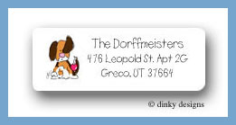 Angel puppy with ornament return address labels personalized