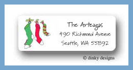 Three stockings return address labels personalized