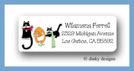 Joy cats return address labels personalized
