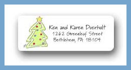 Gingerbread tree return address labels personalized