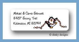 Penguin & popcorn return address labels personalized