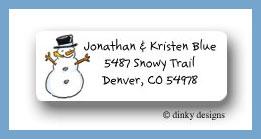 Snowman & mittens-snowman return address labels personalized
