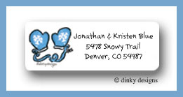 Snowman & mittens return address labels personalized