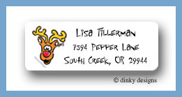 Eight tiny reindeer - Rudolph return address labels personalized