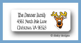 Eight tiny reindeer - Donner return address labels personalized