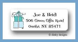 Teal trio return address labels personalized