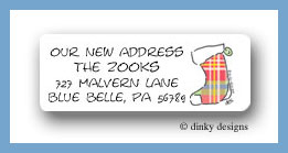 Classic plaid stocking return address labels personalized