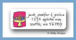 Hanukkah candles return address labels personalized