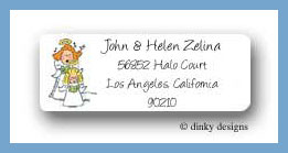 Angel carolers return address labels personalized
