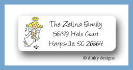 Angel with harp return address labels personalized