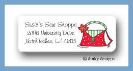 Holiday handbag return address labels personalized