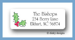 Holly berry Christmas return address labels personalized