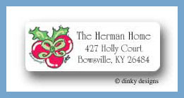Holly bow Christmas return address labels personalized
