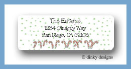 Candy cane & spots return address labels personalized